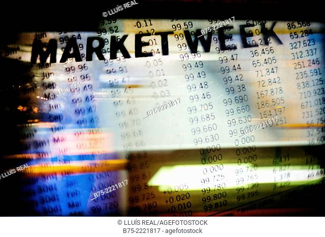 Digital composition of Market Week stock exchange numbers