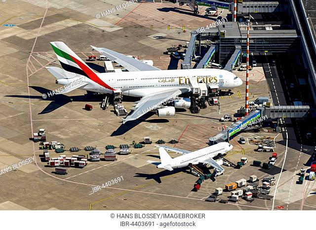 Aerial view, Düsseldorf Airport, A6-EOB Emirates Airbus A380-861 at gate, passenger boarding bridge, Düsseldorf, Rhineland, North Rhine-Westphalia, Germany