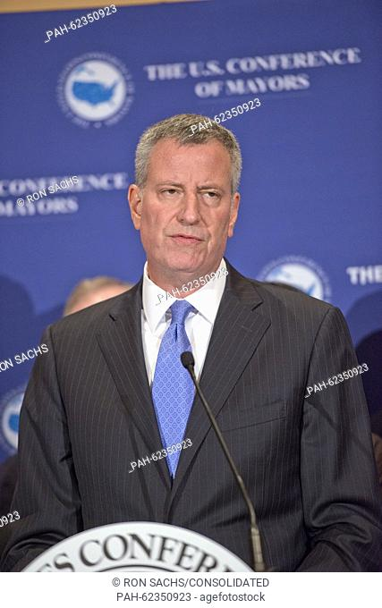 Mayor Bill de Blasio (Democrat of New York, New York) participates in a press conference hosted by the United States Conference of Mayors at the Hilton...