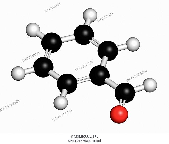 Benzaldehyde bitter almond odour, molecular model. Atoms are represented as spheres with conventional colour coding: hydrogen (white), carbon (black)