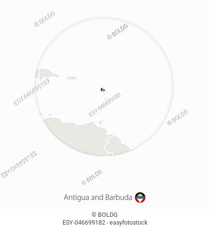 Map of Antigua and Barbuda and national flag in a circle. Antigua and Barbuda map contour with flag. Vector Illustration