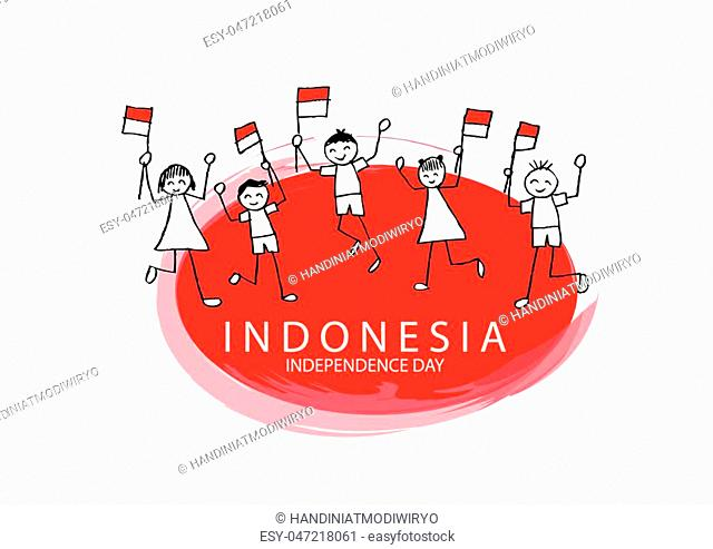 Cute boy and girl holding flag. Independence day of Indonesia