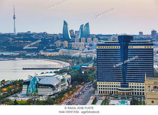 Azerbaijan, Caucasus, Eurasia, Baku, Flame, Tele, architecture, avenue, bay, cars, city, downtown, Hilton, skyline, sunset, touristic, towers, travel