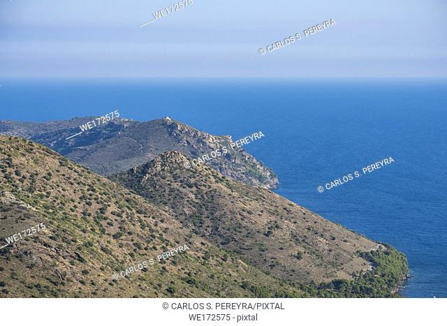 Aerial view of the Costa Brava in the nature reserve of Cap de Creus in the province of Gerona in Catalonia Spain