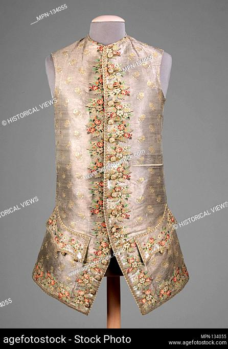 Waistcoat. Date: 1750-70; Culture: probably British; Medium: silk, metal, linen; Credit Line: Brooklyn Museum Costume Collection at the museum