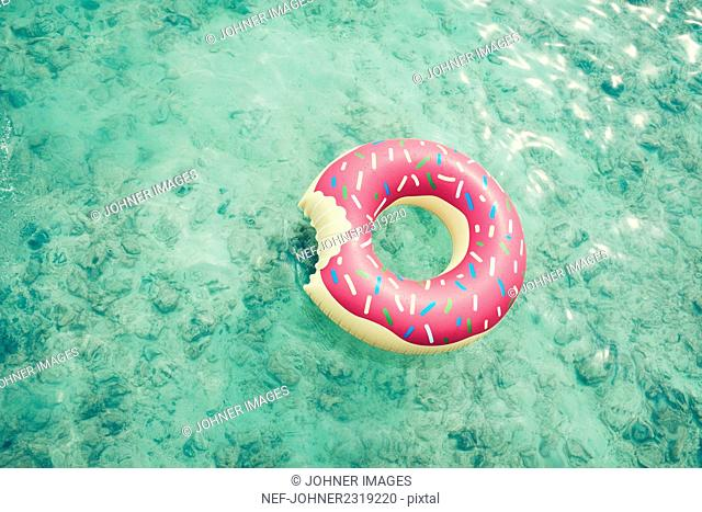 Inflatable ring on sea