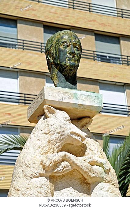 Monument, scientist Rodriguez de la Fuente, Santa Pola, Costa Blanca, Spanien