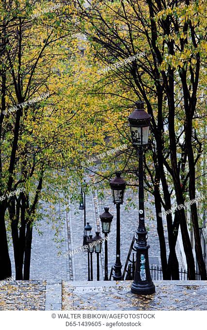 France, Paris, Montmartre, rue de Foyatier steps to the Place du Sacre Coeur, autumn