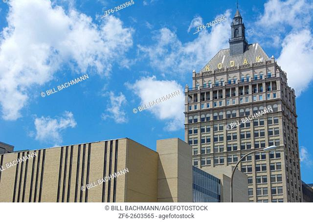 Rochester New York NY Kodak Films world headquarters downtown city now much smaller as film no longer being used much so many Kodak buildings now vacant or torn...