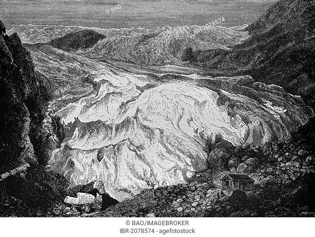 Buarbreen Glacier in 1880, Norway, historical engraving, woodcut, 1882