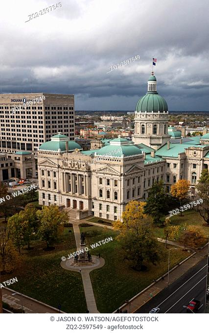 Aerial view of Indiana State Capitol with cloudy sky, Indianapolis, Indiana, United States of America
