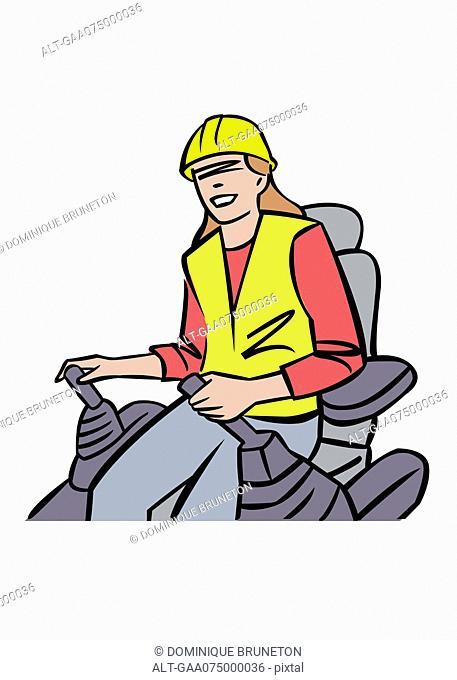 Illustration of female forklift operator