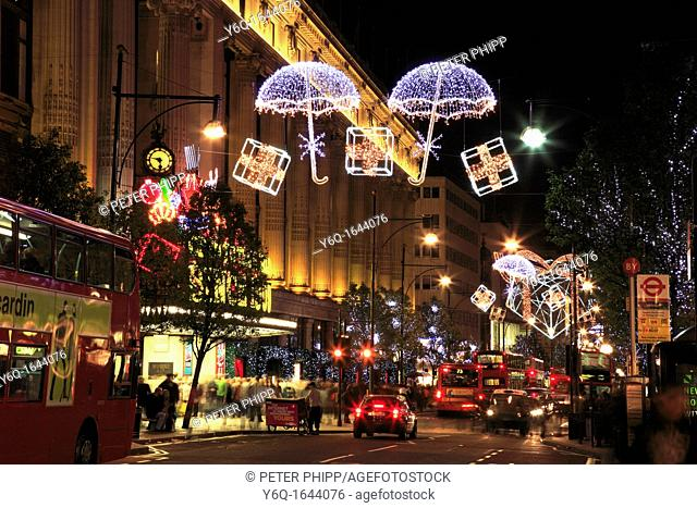 Selfridges in Oxford Street at Xmas  London UK