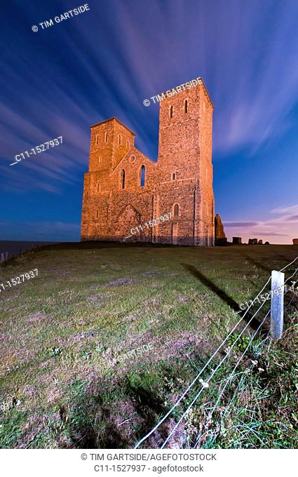 Reculver Church Towers at low tide near Herne Bay Kent England
