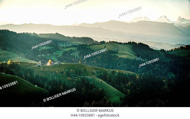 Mountain court, Bernese Alps, Emmental, court, yard, hill scenery, canton Bern, Bern, scenery, Langnau, Lüderenalp, Switzerland, Europe, pre-alps, alps, wood