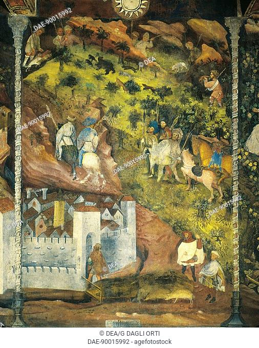 The Month of November, panel taken from Cycle of the Months, by Master Venceslao, fresco, Tower Aquila, Buonconsiglio Castle, Trento, Trentino-Alto Adige