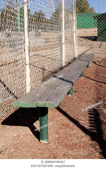 Old weathered baseball benches