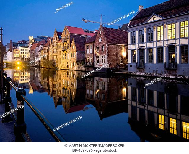 Old storehouses at the Kraanleian the Lys, Ghent, Flanders, Belgium