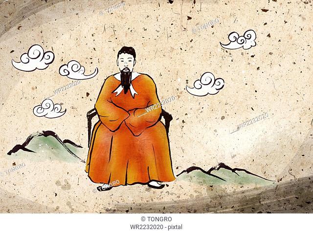Dangun, legendary founding father of Gojoseon, Watercolor
