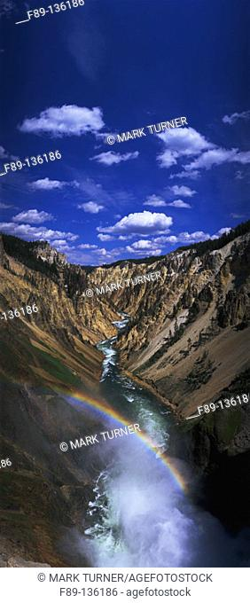 Grand Canyon of Yellowstone River from brink of Lower Falls with rainbow in mist. Yellowstone National Park. Wyoming. USA