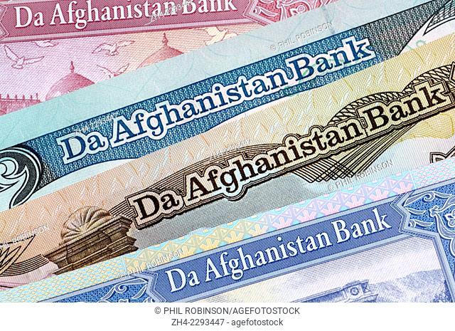 Detail of Afghan banknotes