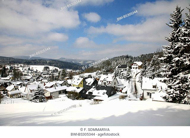 snow covered village in Thuringian Forest, Germany, Thueringer Wald, Stuetzerbach