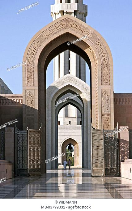Sultanate Oman, Maskat, big mosque, Gates, minaret detail,  West Asia, Arabic peninsula capital culture Arabic architecture, construction, chapel, Islamic