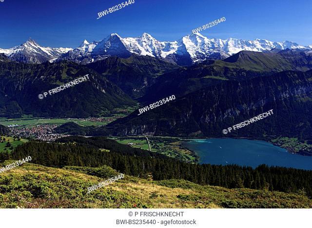 Swiss Alp, view from Niederhorn at Lauterbrunnen and Lake Thun, Eiger, 3974 m, Moench, 4099 m, Jungfrau, 4158m, Switzerland, Bernese Oberland, Lauterbrunnen