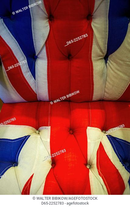USA, Manchester Center, the Orvis store, hunting and fishing mecca, chair with English Union Jack pattern