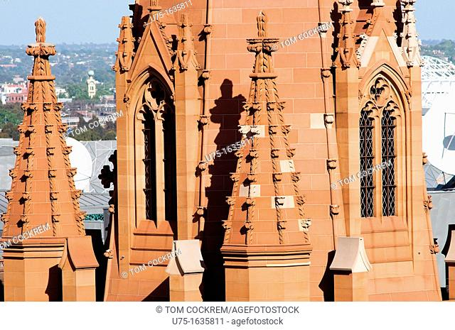 St Pauls Cathedral spires, Swanston Street, Melbourne, Australia