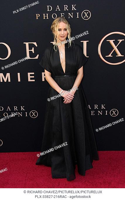 """Jennifer Lawrence at the 20th Century Fox's World Premiere of """"""""Dark Phoenix"""""""". Held at the TCL Chinese Theatre in Hollywood, CA, June 4, 2019"""