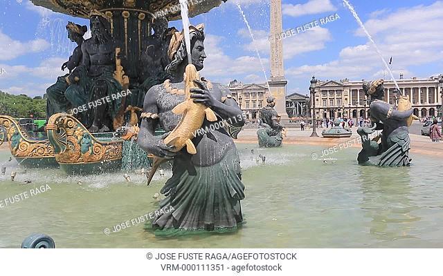 France , Paris City, Concorde Square Fountain of Mars, Luxor Obelisc