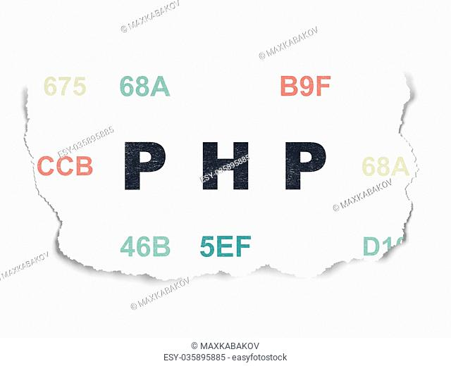 Programming concept: Php on Torn Paper background