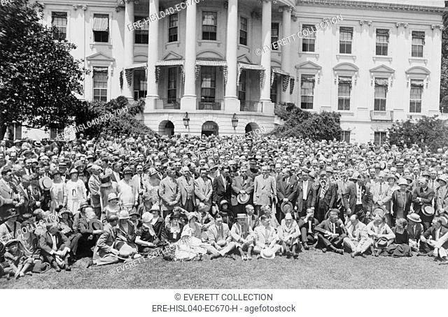 President Calvin Coolidge with members of the National Association of Creditmen. June 11, 1925. As the practice of commercial and consumer loans increased