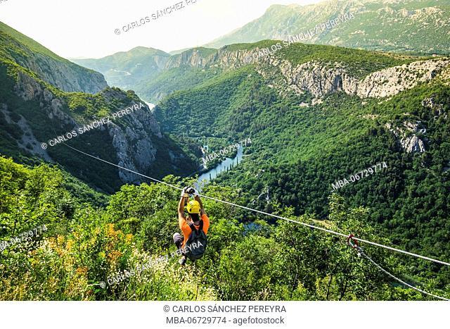 Zip line at Canyon of Cetina River near Omis, Croatia
