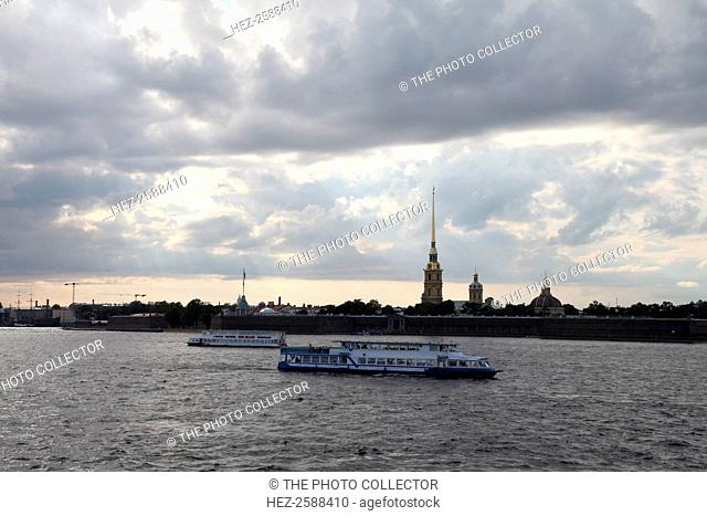 Tourist boats on the River Neva in front of the Peter and Paul Fortress, St Petersburg, Russia, 2011. The Peter and Paul Fortress was built in 1703 during the...