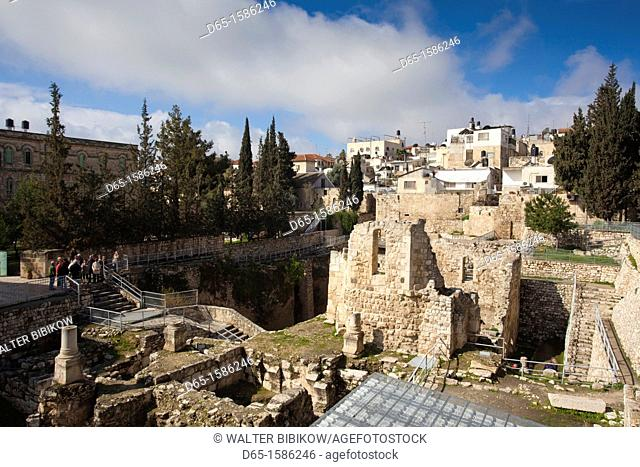 Israel, Jerusalem, Muslim Quarter, ruins of the biblical Pool of Bethesda