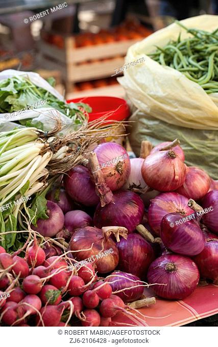 Stall of freshly harvested vegetables. Dubrovnik