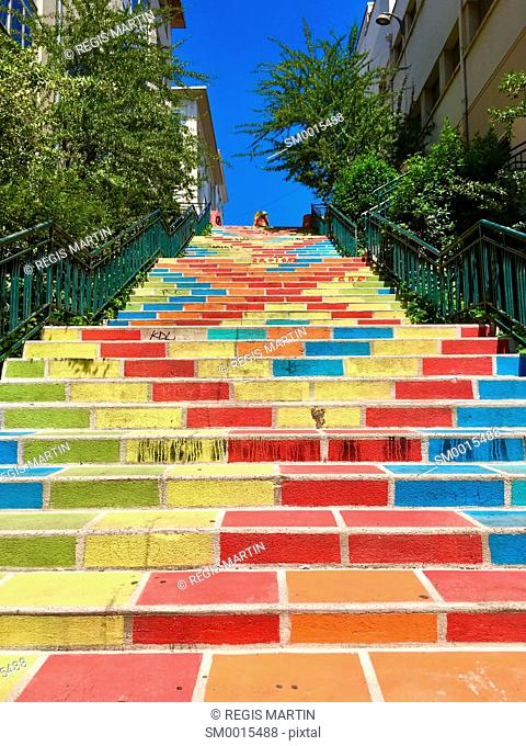 Coloured stairs at the end of Rue Prunelle, (Prunelle street) in the fourth district (Called La Croix Rousse) of the city of Lyon, France