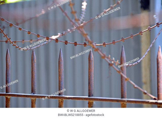 barbed wire and iron spikes, Tuol Sleng Genocide Museum, Cambodia, Phnom Penh