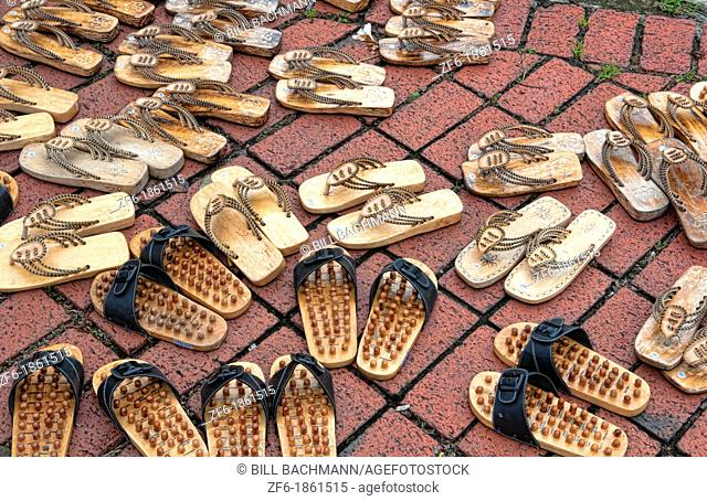 Melaka Malaysia Hertiage City graphic pattern of shoes on floor