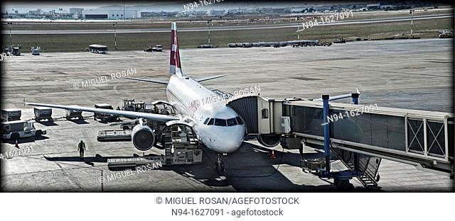 Passengers when boarding a plane to Zurich, Switzerland, Europe
