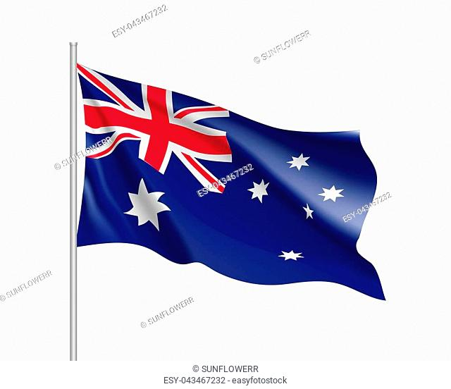 Waving flag of Australia. Illustration of Oceania country flag on flagpole. 3d icon isolated on white background