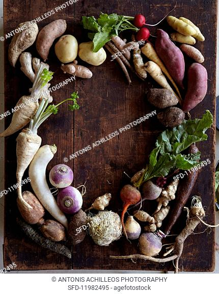 Assorted root vegetables forming a frame