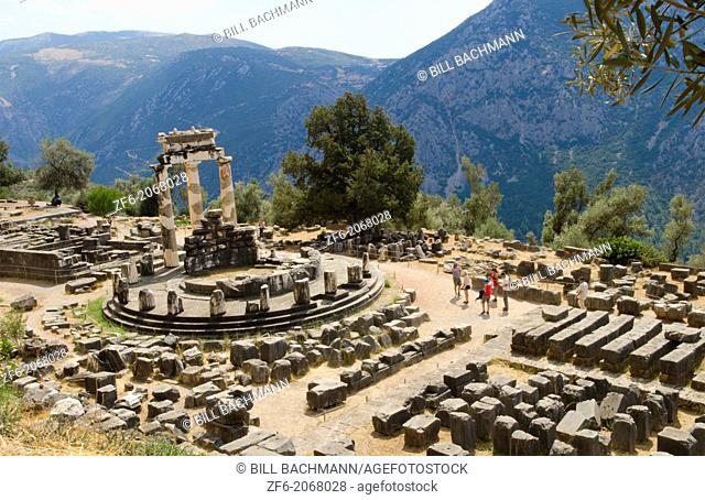 Greece Delphi famous Greek Temple of Athena place of Philosophy for Socrates Oracle of stone from above