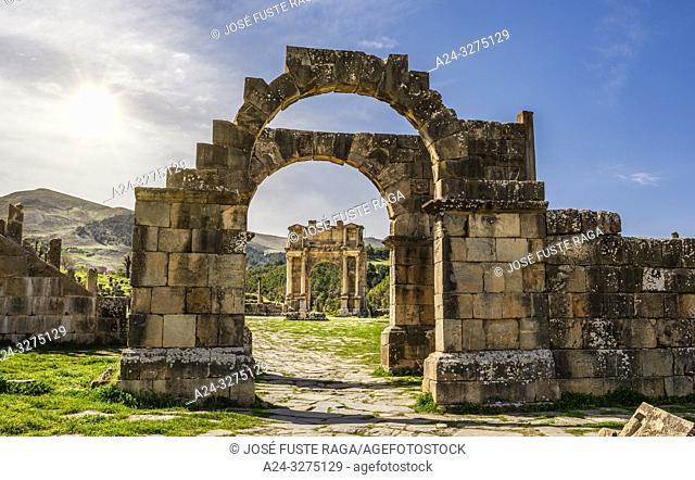 Algeria, Djemila City, Roman ruins of Djemila City, UNESCO, W. H. ,Caracalla Arch