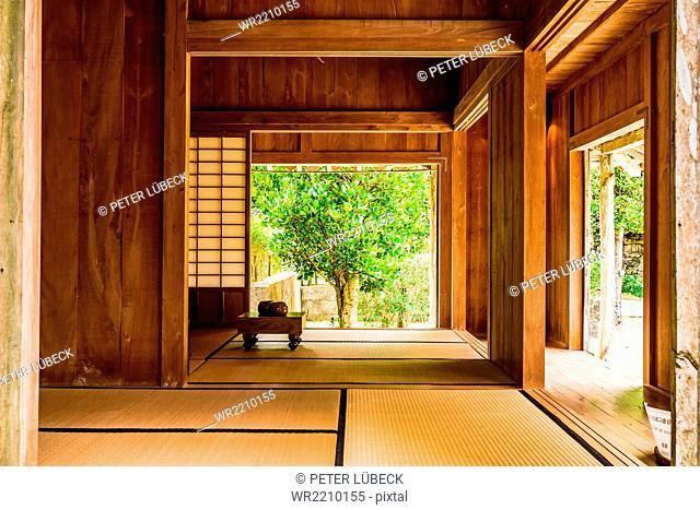 Traditional Okinawan home at open air museum near Okinawa Churaumi Aquarium, Japan