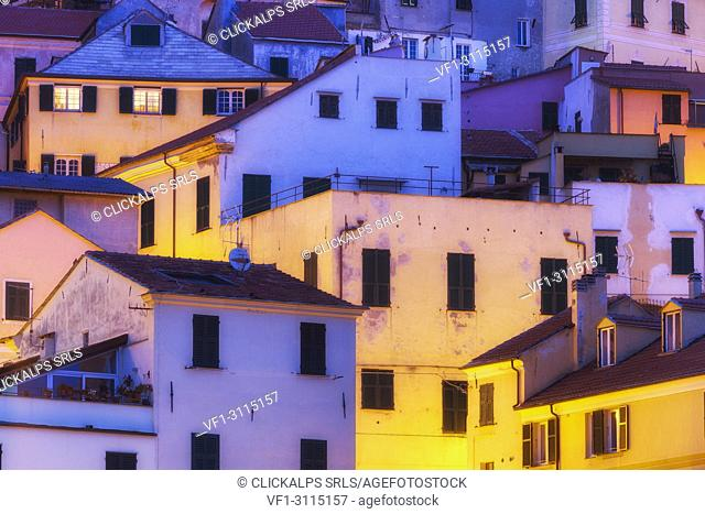 Detail of the houses of Cervo at twilight. Cervo, Imperia province, Liguria, Italy, Europe