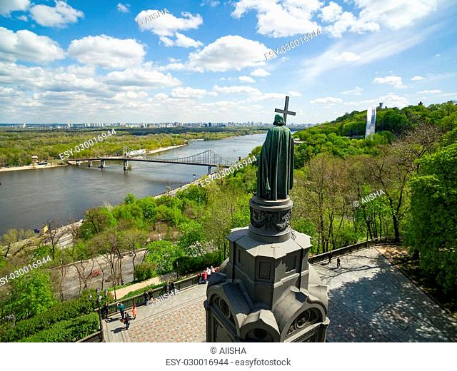View from upper part of Vladimir's Hill to the Saint Vladimir Monument in spring, Kiev, Ukraine. Statue is a dominating feature of Dnieper river slopes and one...