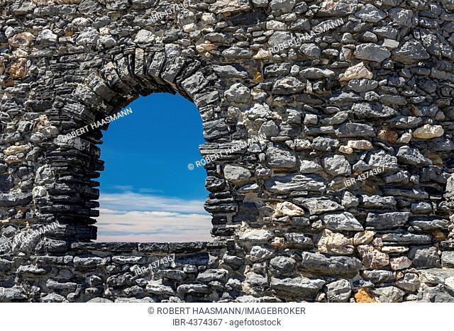 View through rampart window, Porto Venere, Portovénere, Cinque Terre, Liguria, Italy
